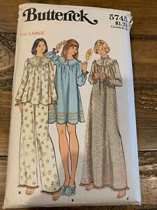 Vintage Butterick 5745 Pattern Nightgown Size Large 16-18 Complete HTF Rare