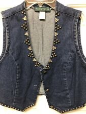 VTG Scott Taylor Sz Lg. Concho Buttons/Studded Denim Western/Cowgirl Vest USA!
