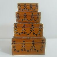 NESTING BOXES 4 Hand Painted Lacquered Floral Swags Surprise Treasure Ornamental