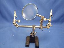"Magnifier Stand Clamps 2 ½"" Diameter Lens Adjustments Jeweler Crafts Soldering H"