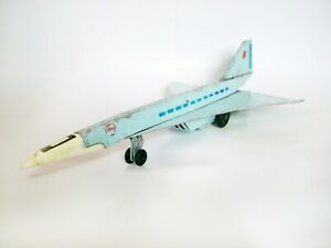 Rare! Tin Litho Toy Soviet Supersonic Jet Airplane TU-144 Aeroflot Concord USSR