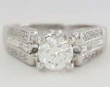 1.34 ct 14K White Gold Round Brilliant Cut Diamond Engagement Ring IGI