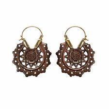81stgeneration Gold Tone Brass Wood Brown Flower Mandala Tribal Dangle Earrings