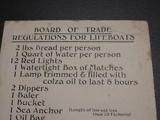 LIFEBOAT CARD BOARD OF TRADE REQUIREMENTS  --   TITANIC OLYMPIC PERIOD