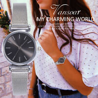 Women Stainless Steel Mesh Strap Quartz Analog Watch Business Casual Wristwatch