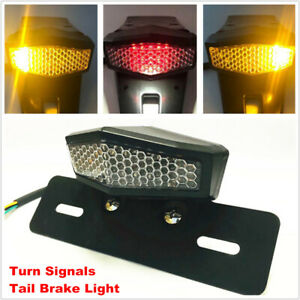 LED Motorcycle Bikes Turn Signal Tail Light Cafe Racer Brake License Plate Lamp