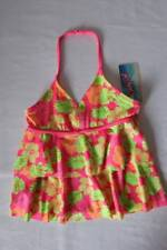 NEW Girls Tankini Top Swimsuit Size XS 4 - 5 Pink Floral Halter Top Bathing Suit