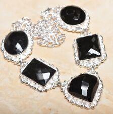 "Elegant Handmade Black Agate Onyx 925 Sterling Silver Necklace 19.5"" #N01030"