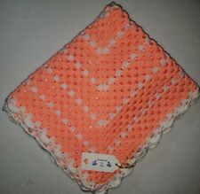 LARGE HAND MADE CROCHET BABY BLANKET,CAR SEAT, COT, PRAM - PEACH & WHITE