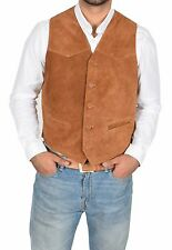 REAL Suede Waistcoat For Mens Classic Style Soft TAN Suede Leather Vest Gilet