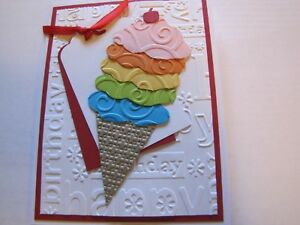 Happy Birthday with a Cheery on Top Ice Cream Red Card Kit 4 w/Some Stampin Up