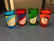 Set of 4 South Park Drinking Glasses Character Faces RARE! Blue-Red-Green-Orange