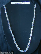 Sterling Silver Blue Moonstone chain necklace from Sri Lanka (14N2) (NEW)