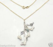 "18"" 3D Flying Butterfly Pendant Cable Chain Necklace Real 14K Yellow White Gold"