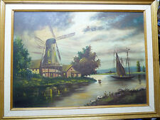 Fine Vintage Oil Painting/Board, Old Windmill on a River Landscape, 49 X 68.5 cm