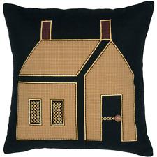 "PRIMITIVE HOUSE filled pillow Mustard Plaid Salt Box Farmhouse Felt 18""x18"" VHC"