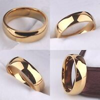 New Yellow Gold Filled 6mm Mens Wedding Ring Women Pinky Band J to Z+4 / 5 to 14