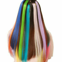 """10PC Colorful Single Clip in Hair Extensions Synthetic for Kid Girls Costume 20"""""""