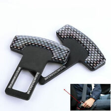 Useful 2pcs Carbon Fiber Car Safety Seat Belt Buckle Alarm Stopper Clip Clamp