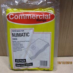 for Numatic NVM 3B commercial dust Vacuum bags NV NVD VQ WV range NVM3B 10 pk