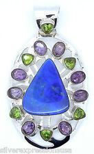 Huge Genuine Natural Australian Fire Opal & Gemstone 925 Sterling Silver Pendant