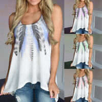Womens Summer Feather Sleeveless Shirts Blouse Casual Loose Tank Tops T-Shirt