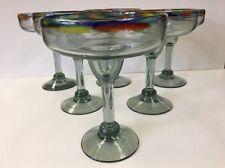 Mexican Mouth Blown Glass Confetti Rim 10 oz. Margarita Glass Set of 6 Glassware