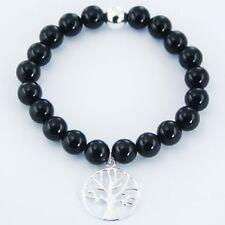 silver stretch bracelet black agate beads 925 silver tree of life charm handmdae