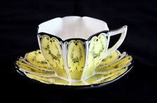"1926 Shelley Art Deco Queen Anne Yellow ""Garland of Flowers"" Teacup Set 11512/3"