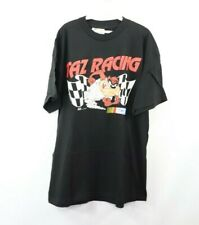 New Vintage 90s Looney Tunes NASCAR Mens XL Taz Racing Spell Out Shirt Black USA