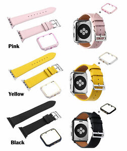 For apple watch Series 3/2/1 Real Leather Watch Band Strap Case Cover 38mm 42mm