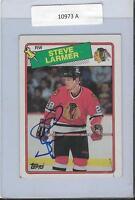 Steve Larmer 1988 Topps Autograph #154 Blackhawks