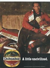 Chihuahua Mexican Beer 80's Magazine Ad Guy Bike Uncivilized Print Advertisement
