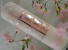 Taufkerze Kommunionkerze Konfirmationskerze Kreuz rosa silber Taufkerzen Mädchen