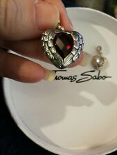 RARE & RETIRED THOMAS SABO GLAM & SOUL RUBY CZ ANGEL WINGS HEART PENDANT
