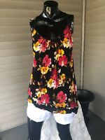 Band of Gypsies Black Floral Top Tunic Sz M, Racerback, Summer Spring