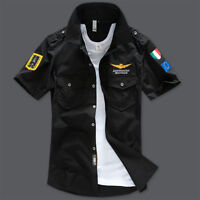 New Men's Casual Shirts Air Force Military Army Shirts Short Sleeve Dress Shirts