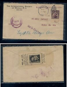 Philippines  censor cover to US, exchange stamps 1919