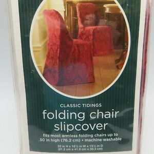 """Classic Tidings Armless Folding Chair Slipcover Dark Red Damask 30"""" Target"""