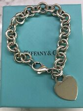 "Authentic TIFFANY & CO Silver 925 Plain Heart Tag Bracelet 7.5"" 19cm"