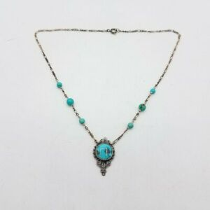 """925 Sterling Silver & Turquoise Necklace 8"""" 6.9g Fashion Jewelry RB179"""