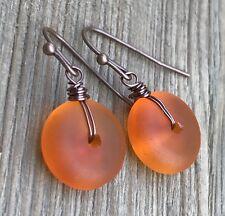 Min Favorit Tangerine Sea Glass & Antique Copper Artisan Drop Earrings NEW!