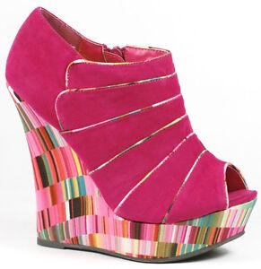 Fuchsia Pink Faux Suede Open Peep Toe Platform Wedge Ankle Boot Bootie Liliana