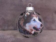 """HAND MADE SIBERIAN HUSKY DOG 3"""" GLASS CHRISTMAS ORNAMENT/BALL"""