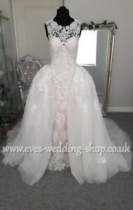 Nude lace wedding dress with detachable train UK 8 - check measurements