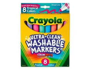 Crayola Tropical Color Washable Markers, Broad Bullet Tip, Assorted Colors, 8 co
