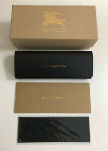 NEW BURBERRY EYEGLASSES HARD BLACK LEATHER CASE,Cloth,Outer Box And DOCUMENTS