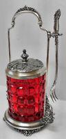Atq ROCKFORD SILVER PLATE CO. Victorian PICKLE CASTOR wFORK +CRANBERRY GLASS JAR