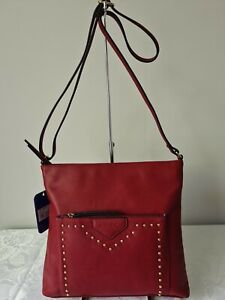Vershe* Milleni (PV2407) dressy handbag, Cross body bag, studded, dark red, NWT