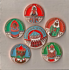 Russia badge. USSR pin. Vintage Full set of 6 items. Zagorsk Toys.
